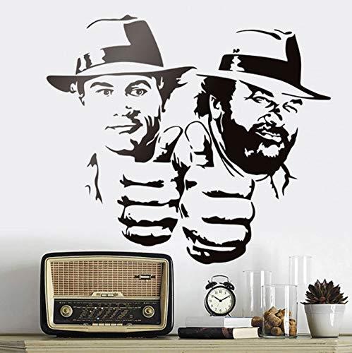 xingzhi Bud Spencer Und Terence Hill Wandaufkleber Lächerlich Lustig Charakter Porträt Vinyl Aufkleber Klassische Film Abbildung Wandbilder 65X57 cm