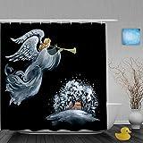Mozenou Cortina de baño Repelente al Agua,Dibujado a Mano ilustración de ángel Hermoso con Estrella de Navidad flotando sobre el Pueblo,Cortinas de baño de poliéster de diseño 3D con 12 Ganchos