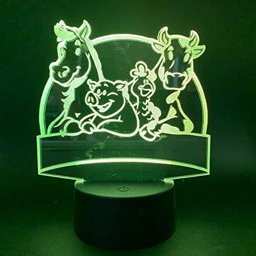Illusion 3D Led USB lampe Pig Cheval Cow Zoo Veilleuse Enfants Cadeau Chambre capteur tactile 7 couleurs lampe décorative animal lumière de nuit