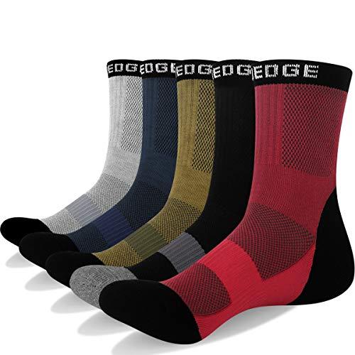 YUEDGE Wandersocken, 3 Paar/5 Paar atmungsaktive Laufsocken für Herren, gepolsterte Sport Socken mit Sohle und Knöchel, Anti-Blister-Anlass Trainersocken, Grey/Dark Blue/Olive/Black/Red, XL