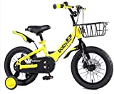 LIUXR Bicicletas Infantiles niña niño 3-9 años Freestyle 12 14 16 Pulgadas Ruedas auxiliares Bicicleta para niños,Yellow_16'