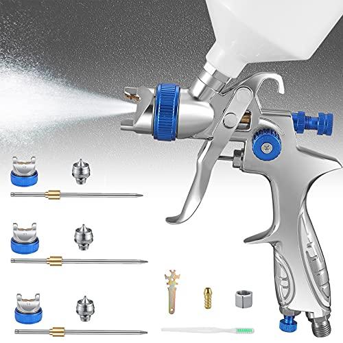 GJCrafts Pistola a Spruzzo Gravitazionale 3 ugelli 1,4 mm 1,7 mm e 2,0 mm Inox 600 CC HVLP Spruzzatori di Vernice per la Verniciatura di Automobili, Mobili e Altre Attrezzature