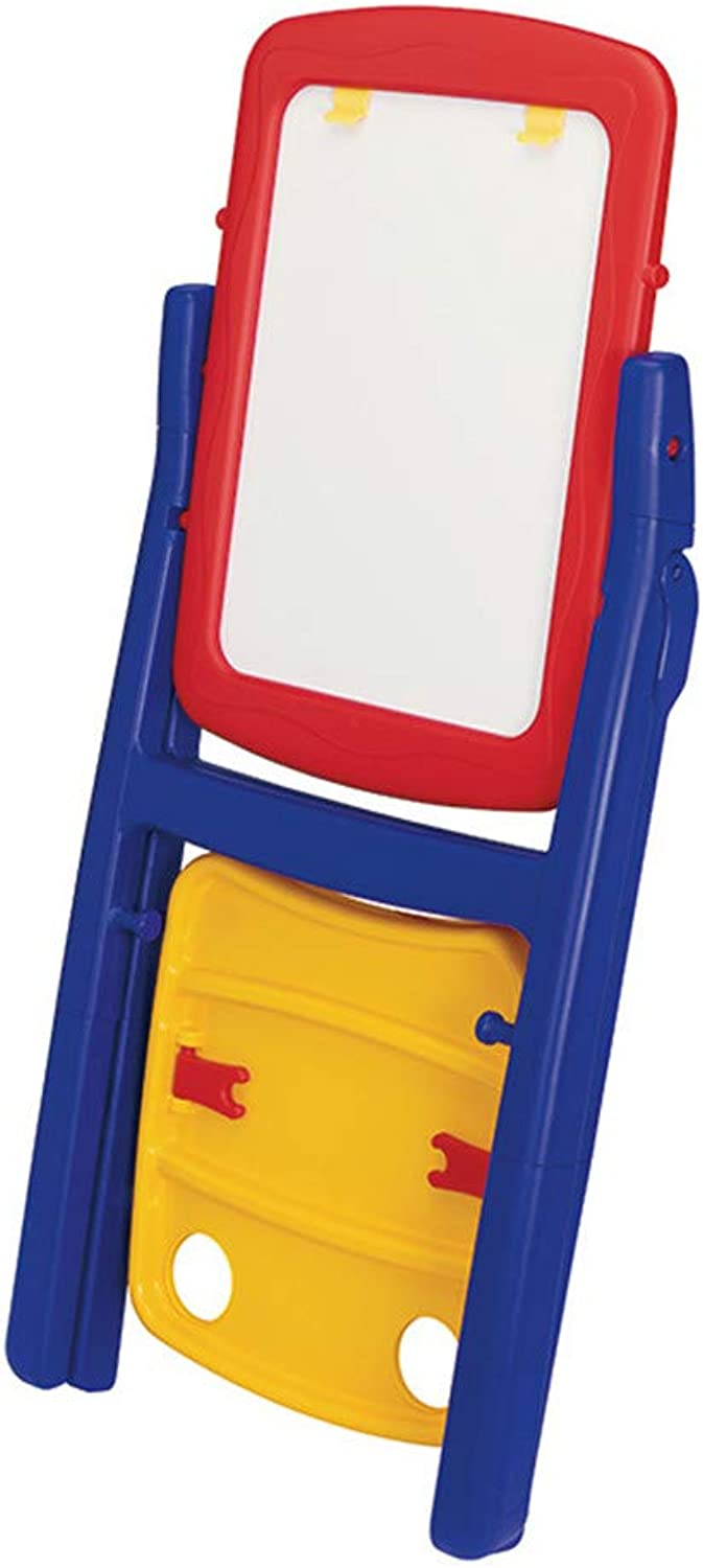 Drawing Board For Kids Deluxe Standing Art Easel - Dry-Erase Board, Chalkboard, Paper Roller,Magnetic Whiteboard, Includes Paper Roll, and Accessories,The Ultimate All-in-One Wooden Kid's Art Easel, Y