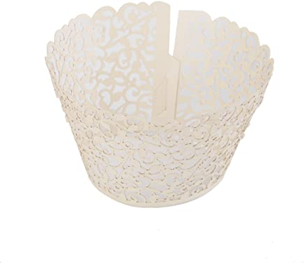 Baosity 50pc Paper Cut Wedding Cupcake Wrapper Cake Cups Wraps Liners Cake Decor - Ivory, as described