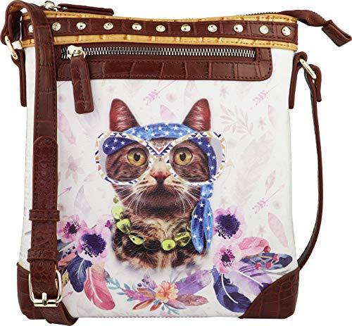 B BRENTANO Vegan Cute Animal Graphic Crossbody Bag Purse with Rhinestones and RFID Protection (Boho Boo RF)