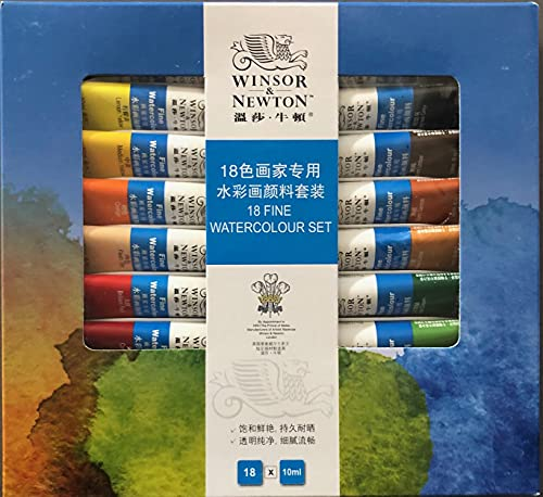 Winsor & Newton Fine Watercolor Paint Set,Watercolor Paint Tubes,for Artists, Students, Beginners, (Set of 18)