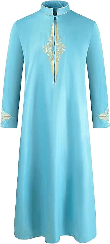 Ramadan Muslim Abaya Jubba Thobe Kaftan Solid Color Robe For Men Dubai Turkey Indian Fashion Loose Islamic Clothing