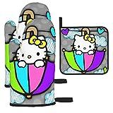 JJKKFG-H Hello Kitty Set di guanti da forno e presine, guanti da cucina per cucinare grigliate, grigliate, barbecue, 3 pezzi