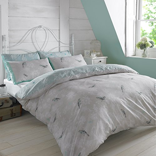 Dreamscene Luxurious Vintage Birds Duvet Set with Pillowcase, Polyester/Cotton, Mint/Light Blue, Double,VINTBIRDLB02