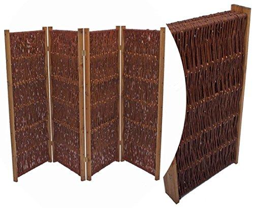 bambus-discount.com Weiden Paravent als Raumteiler Easy eco mit Breite 180 x Höhe 120cm, 3 teilig - 3teiliger Paravent aus Weidenruten ideal für temporären Sicht- und Windschutz