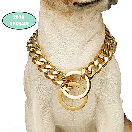 """GCSEY Cadena De Oro Cadena Collar De Perro De 15 Mm Perro Enlace Cubano Pitbull Estrangulador Collar De Metal De Acero Inoxidable para Trabajo Pesado Slip Collares De Perro,20"""""""
