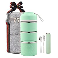 YBOBK HOME 弁当ランチボックス 漏れ防止 ステンレススチール 積み重ね可能なランチボックス バッグと再利用可能な食器セット 保温食品保存容器 健康的な食事/スナックのパッキングに (3層、グリーン)