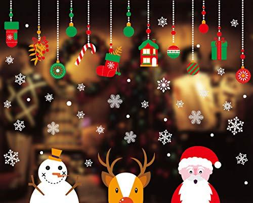 Yuson Girl Copos de Nieve Papá Noel Reno Santa Claus Pegatinas de Ventana Navidad Reutilizable Murales Decorativos Pared Invierno Decoracion Ventana Puerta Navidad Exterior Tienda Casa