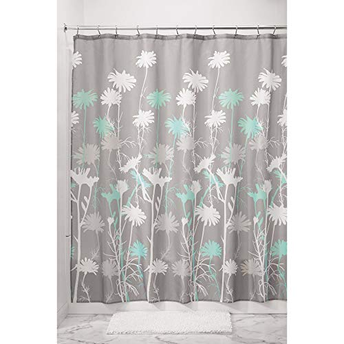 Price comparison product image iDesign Daizy Fabric Shower Curtain,  Polyester Shower Screen with Garden Daisy Pattern Design,  Grey / Mint