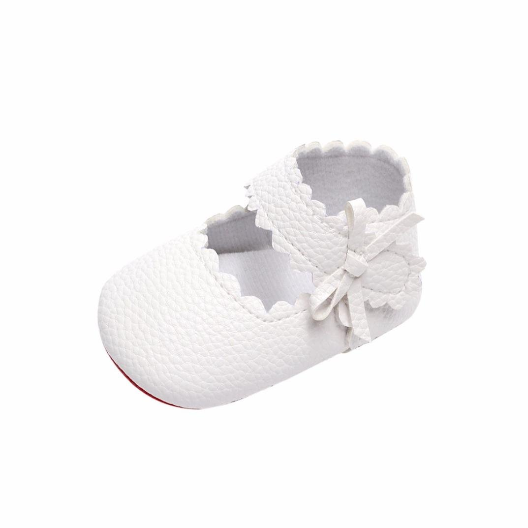 Jamicy Baby Girls Princess Bowknot Design Leather Soft Sole Casual Shoes 0~6 Month, Black
