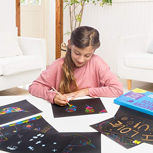Purple Ladybug Scratch Paper Art Set for Kids! Variety Pack with 36 Full Sized Sheets, 3 Unique Colors: Rainbow, Gold, Silver + Stencils! Great Gift for Teens, as Kids Art Supplies,