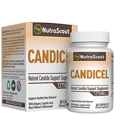 Candicel Candida Cleanse Supplement with Caprylic Acid, Oregano, Wormwood, Black Walnut, Cellulase & Acidophilus to Combat Yeast & Candida Overgrowth – Non-GMO - 60 Capsules