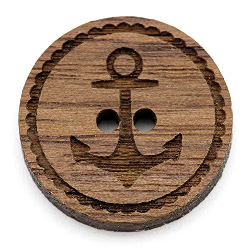 NaturSchatulle Holzknöpfe Gravur Motiv Anker 12-30mm I 25 Stück Nussbaum 2 Loch Knöpfe Holz DIY Basteln Nähen Schmuckherstellung Annähen Rund 30mm