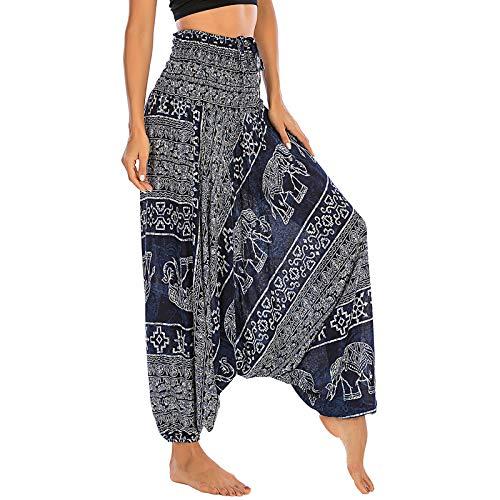 Nuofengkudu Mujer Thai Algodón Harem Pantalones Jumpsuit Hippie Boho Estampados Baggy Monos Pantalón Cintura Alta Indios Tallas Grandes Yoga Pants Pijama Verano Playa(S-Elefante Azul Oscuro)