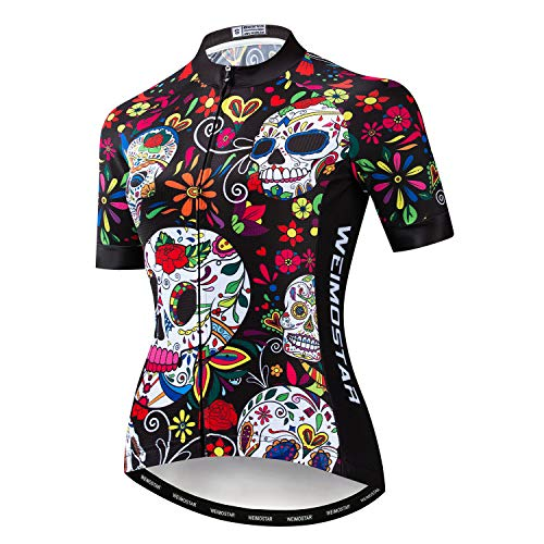 Women's Cycling Jersey Short Sleeve Girls Bike Shirt Jacket Bicycle Clothing Three Pockets Reflective Skulll Black Red Size M