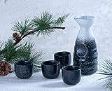 Hinomaru Collection Reactive Glaze Sake Set Tokkuri 10 fl oz Bottle with Four Sake Ochoko Cups 2 fl oz (Frost White)