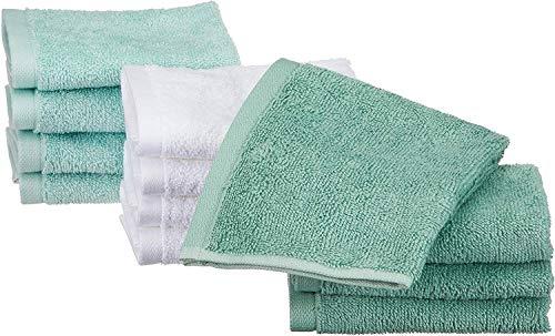 AmazonBasics - Toallas de algodón, 12 unidades, Verde espuma de mar, Azul hielo, Blanco
