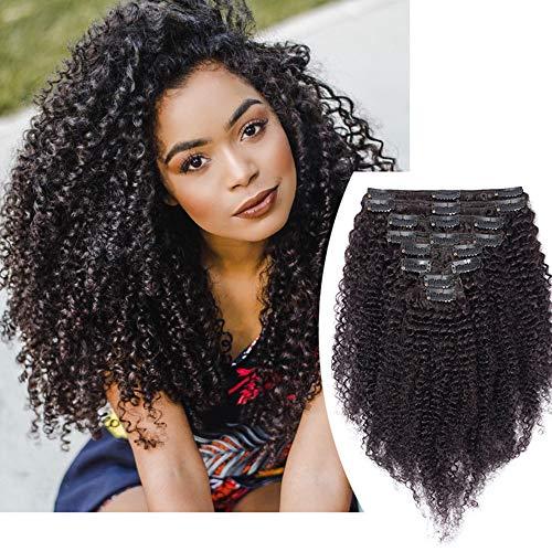 """Extension A Clip Cheveux Humain Naturel Afro Frisé Kinky Curly Clip in Hair Extension 28""""/71CM Noir Naturel [Double Weft] 8 PCS Rajout Cheveux Epais"""