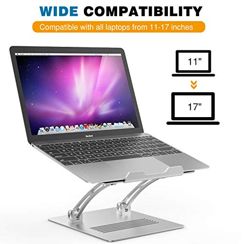 MoKo Laptop Ständer für 11-17 Zoll Laptops, Multi-Winkel Halterung Verstellbarer Ständer Laptop Halter Kompatibel mit MacBook Pro/Air, Acer, ASUS, HP, Sony, Dell XPS, Lenovo - Silber