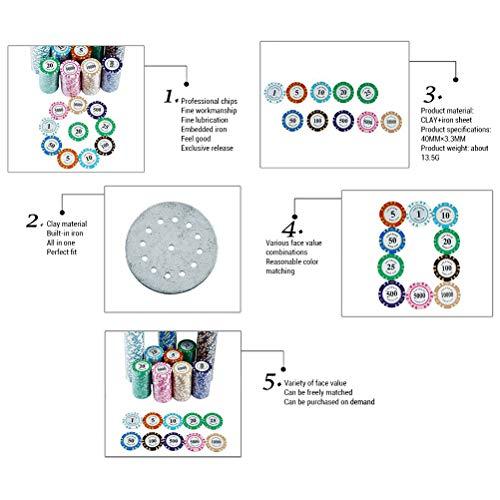 Congci 100 Pezzi fiches da Poker Giochi di Poker Accessori fiches digitali Poker Roulette fiches da Casinò gettoni da Gioco in plastica