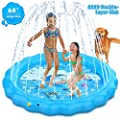 Dillitop Sprinkler for Kids, Splash Pad, Wading Pool and Kiddie Pool, Summer OutdoorWater Play Mat for for Boys Girls Fun Sprinkler Pool Sprinkler Toy Inflatable Spray Pad (Blue)