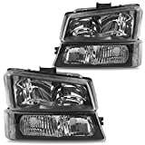 DWVO Headlights Assembly Compatible with 2003-2006 Chevy Avalanche / 2003-2007 Chevrolet Silverado 1500 2500 3500 1500HD 2500HD (Black Housing)