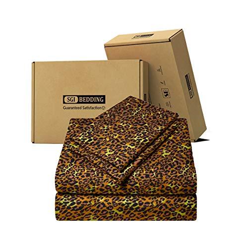 SGI bedding 600 Thread Count Super Soft Cotton Queen Size Bed Sheets Leopard Print