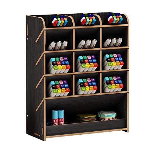 Caja de almacenamiento para bolígrafos, de madera, multiusos, organizador de escritorio para el hogar, la oficina y la escuela, color negro