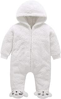 Newborn Baby Boys Girls Cartoon Cat Fleece Jumpsuit Romper Winter Warm Windproof Snowsuit Wool Lamb Footies