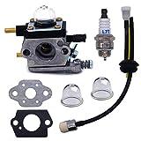 FitBest Carburetor C1U-K54A with Gasket Repower Kit Spark Plug for Mantis and Echo 2 Cycle Tillers TC-210 TC-210i TC-2100 SV-6 SV-5H/2 SV-5C SV-4B LHD-1700 HC-1500