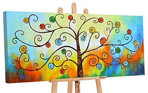 YS Оfrecer hasta 01.09 Art | Cuadro Pintado a Mano Arbol de Dinero| Pintado a Mano | Cuadro Moderno acrilico | 115x50 cm | Lienzo Pintado a Mano | Cuadros Dormitories | único | Multicolor