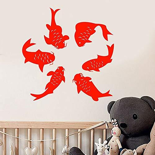 ASFGA Lucky Koi Wandtattoo Cartoon Fisch Ozean Stil Kinder Schlafzimmer Badezimmer Home Decor Tier Tapete Türen und Fenster Vinyl Aufkleber