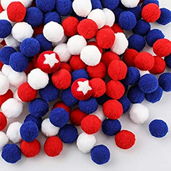 200 Pieces 4th of July Felt Balls Independence Day Felt Pompom Balls Red White and Blue Handmade Balls for DIY Home Party Independence Day Decorations