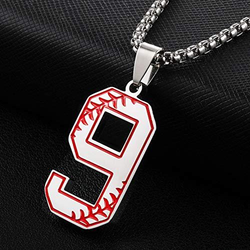 N/A Collar Colgante Collares Pendientes de béisbol de Moda 0-9 para Hombres, joyería Deportiva con números de la Suerte Regalo de cumpleaños de Navidad