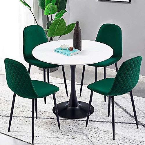 Conjunto de silla de mesa de cocina de vidrio circular, incluyendo 4 almohadillas de terciopelo de color, sillas temporales y mesas y sillas de mesa de vidrio templado transparente,Green