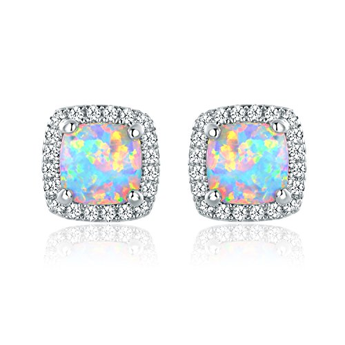 Barzel White Gold Plated Created Opal Stud Earrings (White Gold Opal)
