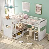 Triple Bed Twin-Over-Twin-Over-Twin Bed L Shaped Bunk Bed with 2 Drawers and 2 Ladders, No Box Spring Needed