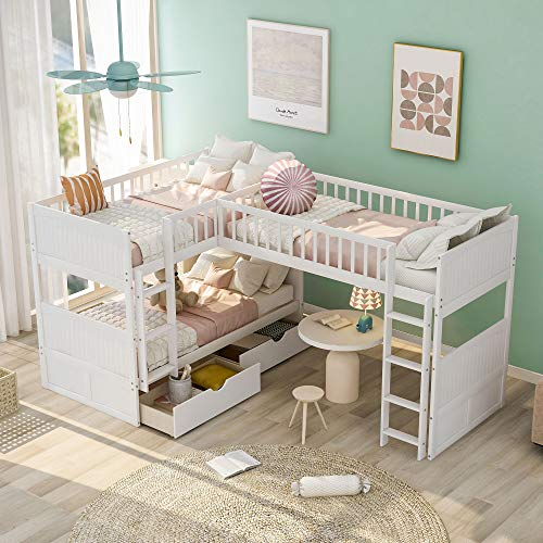 Triple Bed Twin-Over-Twin-Over-Twin Bed L...