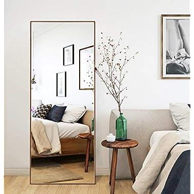 CrossROBBIN Thin Frame Floor Mirror (Brown, 65 x22 )