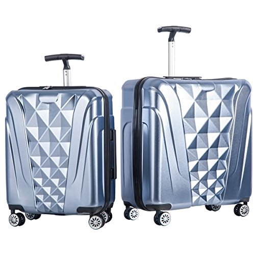 Merax Newest 2 Piece Luggage Set TSA Approved Luxurious Suitcase (Soft Blue)
