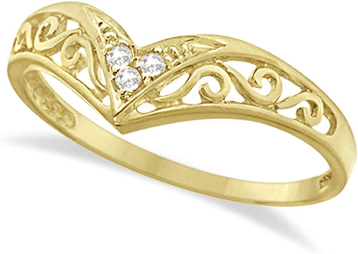 Max 62% OFF 14k Gold Antique Style Ring 0.05ct Chevron Max 50% OFF Diamond