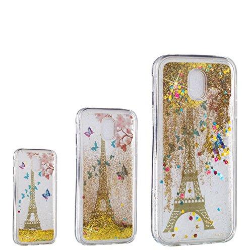 MSOSA Funda Samsung Galaxy J7 2017/J730 Silicona Purpurina Carcasa TPU Cristal Bumper Fundas Case Cover para Samsung Galaxy J7 2017/J730_Torre
