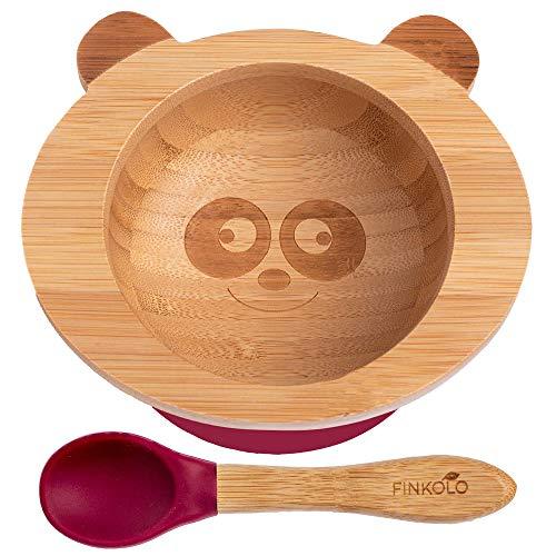 Finkolo - Ciotola a ventosa per neonati e cucchiaio, in bambù naturale, motivo: panda