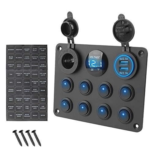 zhoufeng 8 Pander Car Marino L & EDRocker Panel de interruptores Impermeable Voltímetro Digital Puerto USB Dual 12-24V Luz de Cigarrillo (Color : Blue)