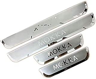 HBTTFR 4 Pcs,Car External Door Sill Protectors Threshold Scuff Plate Welcome Pedal Kick Guard Plates Covers Trims for Vauxhall Opel Mokka X 2013-2020,Stainless Steel,Car Accessories